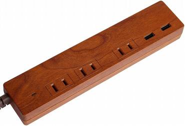おしゃれで小さめの電源タップ:Fargo 木目調デザイン ケーブル 1.5m