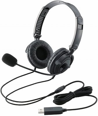 エレコム usbヘッドセット(両耳オーバーヘッド) hs-hp20ubk