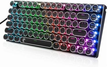e元素茶軸 タイプライター風ゲーミングキーボード RGB発光LEDバックライト付き