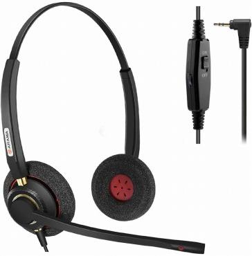 Arama 2.5mm ヘッドセット 電話機用 業務用ヘッドホン 両耳(A802CP)