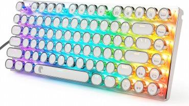 e元素 タイプライター風ゲーミングキーボード RGB発光LEDバックライト付き