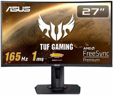 ASUS TUF Gaming 湾曲 ゲーミングモニター VG27VQ 27インチ 165Hz