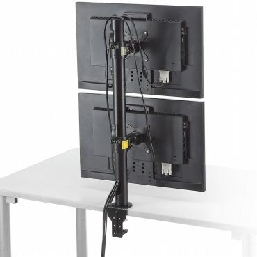 サンワダイレクト モニターアーム 上下2台設置 クランプ固定
